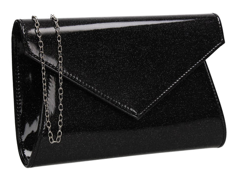 Zoe Sparkly Envelope Clutch Bag Black