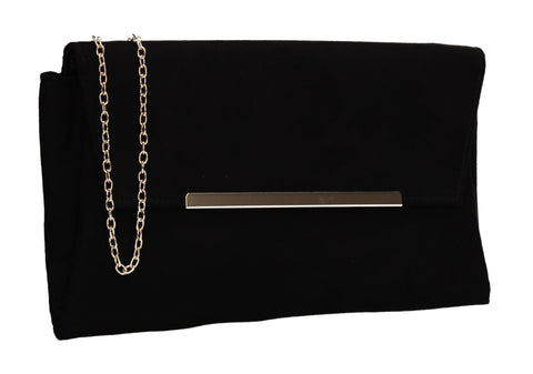 SWANKYSWANS Joe Plain Faux Suede Clutch Bag Black