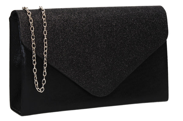 Kelly Glitter Clutch Bag Black