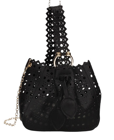 Tegan Laser Cut Detail Bucket Grab Bag Black