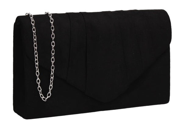 Iggy Faux Suede Clutch Bag Black