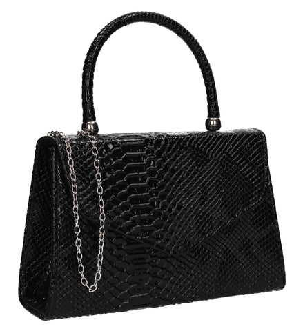 Lucy Mini-Handbag Faux Leather Snakeskin Effect Clutch Bag Black