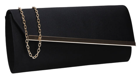 Judith Satin Flapover Clutch Bag Black