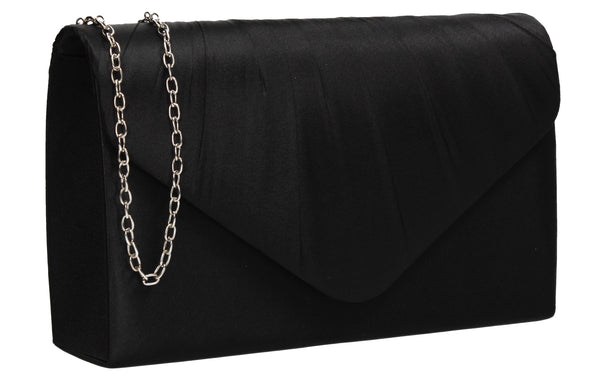 Chantel Beautiful Satin Envelope Clutch Bag Black
