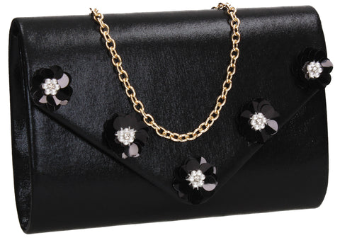 SWANKYSWANS Josie Clutch Bag Black Cute Cheap Clutch Bag For Weddings School and Work