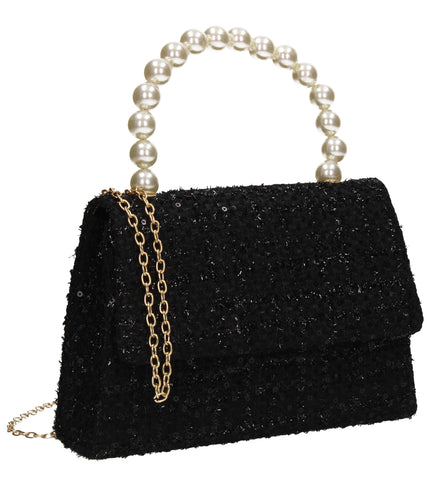 Elliana Synthetic Stitched Effect Flapover Clutch Bag Black