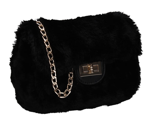 SWANKYSWANS Carson Faux Fur Clutch Bag Black