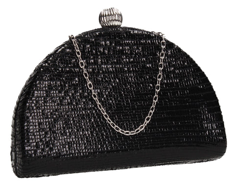 Felicity Semi Circle Diamante Clutch Bag Black