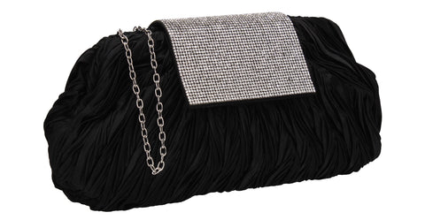 Sienna Diamante Pouch Clutch Bag Black