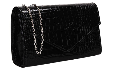 Emily Croc Effect Clutch Bag Black