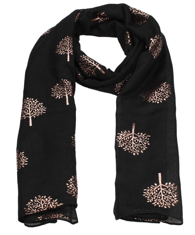Swanky Swans Mulberry Rose Gold Tree Scarf Black Beautiful school Summer Winter Scarf