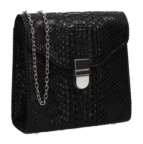 Kalie Vegan Snakeskin Pattern Clutch Bag Black