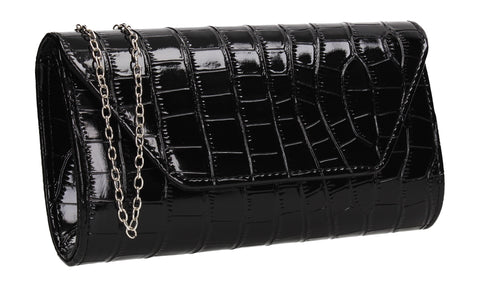 Erin Croc Effect Clutch Bag Black