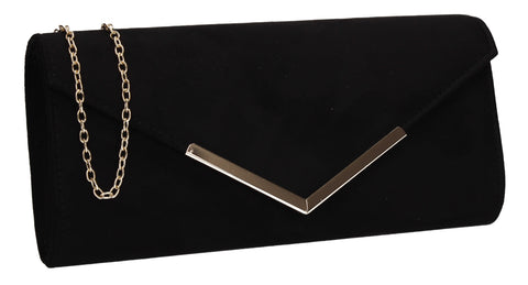 Leona Envelope Faux Suede Clutch Bag Black