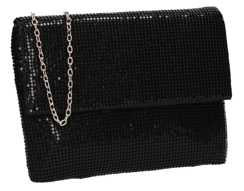Daniella Sequin Flapover Clutch Bag Black
