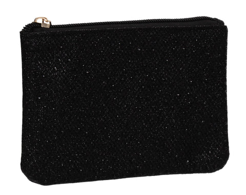 Sarah Slim Glitter Card Holder Coin Purse Black