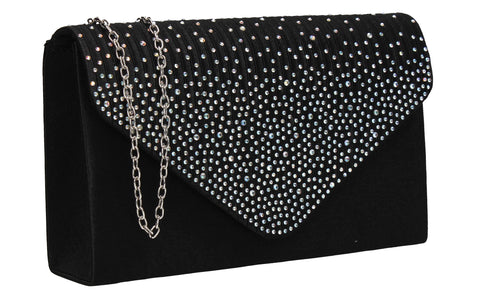 Abby Diamante Clutch Bag Black