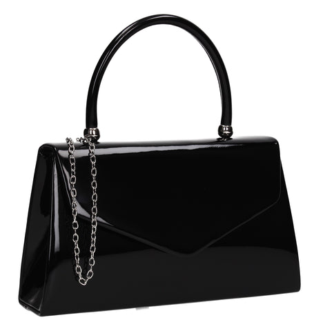Zoey Patent Envelope Mini-Handbag Clutch Bag Black