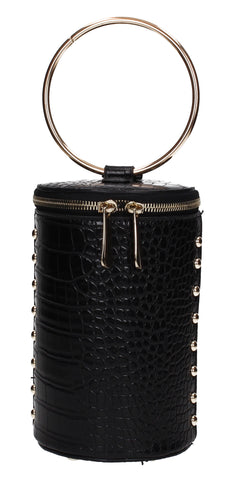 Brenda Faux Leather Party Bucket Handbag Black
