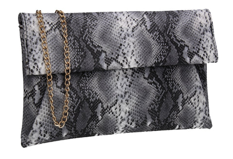 Colette Faux Snakeskin Slim Clutch Bag Black