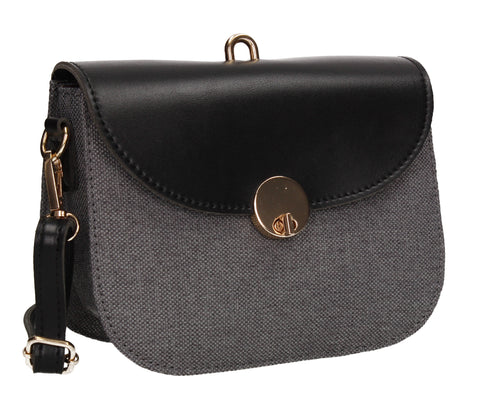 Ember Faux Leather Canvas Flapover Crossbody Black