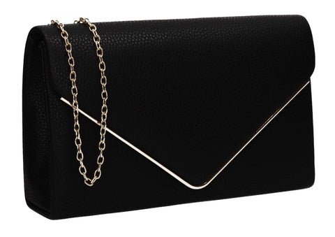 Erica Vegan Leather Envelope Clutch Bag Black