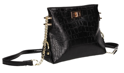 Becky Faux Leather Croc Pouch Crossbody Bag Black