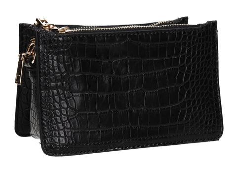 Evalyn Croc Structured Crossbody Clutch Bag Black