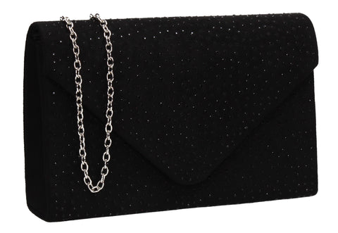 Sidney Diamante Clutch Bag Black Swanky Swans Beautiful Clutch Fun Party Glitter Animal Sequin Clutch Bag