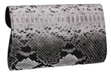 SWANKYSWANS Valena Snakeskin Pattern Clutch Bag Black