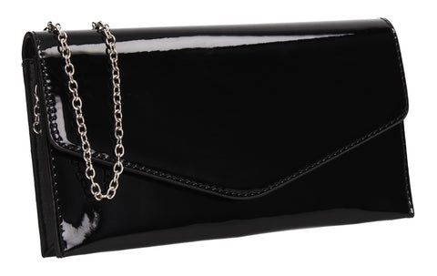 Evie Plain Patent Envelope Clutch Bag Black