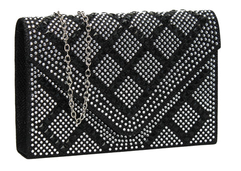 SWANKYSWANS Bethany Diamante Clutch Bag Black Cute Cheap Clutch Bag For Weddings School and Work