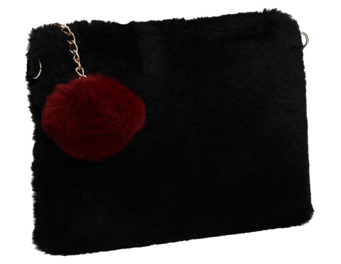 Lillie Slim Faux Fur Clutch Bag Black