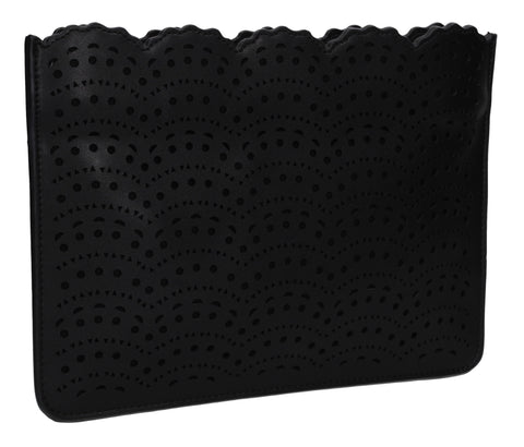 Tara Slim Laser Cut Party Evening Clutch Bag Black