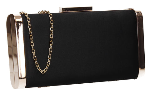 Kathleen Faux Suede Box Shape Clutch Bag Black