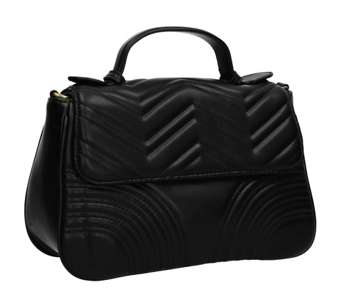 Brianna Quilted Stitch Effect Handbag Black