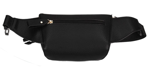 Brenna Faux Leather Stitched effect Belt Bag Black