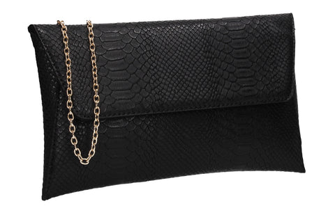Remi Faux Leather Snakeskin Effect Flapover Clutch Bag Black
