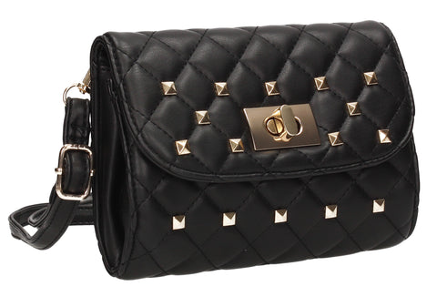 Carley Quilted Effect Studded Belt Bag Black