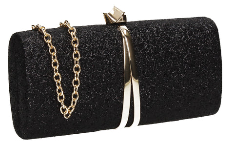 SWANKYSWANS Daisy Clutch Bag Black Cute Cheap Clutch Bag For Weddings School and Work