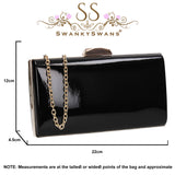 SWANKYSWANS Finley Clutch Bag Black Cute Cheap Clutch Bag For Weddings School and Work