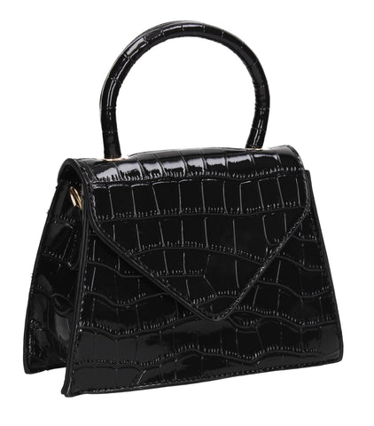Bonnie Faux Leather Patent Croc Mini Evening Bag Black