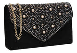 SWANKYSWANS Laurel Clutch Bag Black Cute Cheap Clutch Bag For Weddings School and Work