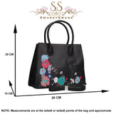 Hanna Floral Handbag BlackBeautiful Cute Animal Faux Leather Clutch Bag Handles Strap Summer School