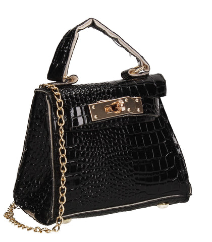 Layla Faux Leather Croc Mini Grab Crossbody Evening Bag Black