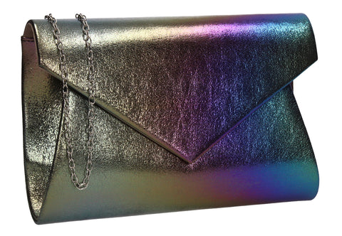 Karina Rainbow Style Clutch Bag Blue