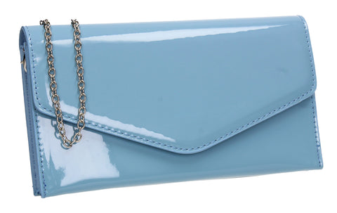 Evie Plain Patent Envelope Clutch Bag Blue