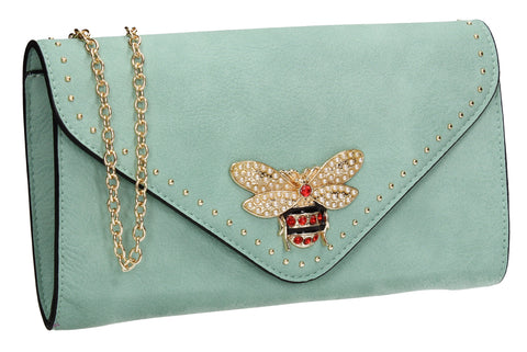 SWANKYSWANS Shannon Clutch Bag Blue Cute Cheap Clutch Bag For Weddings School and Work