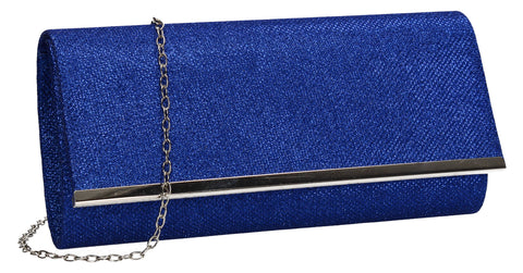 Lucey Flapover Glitter Clutch Bag Blue