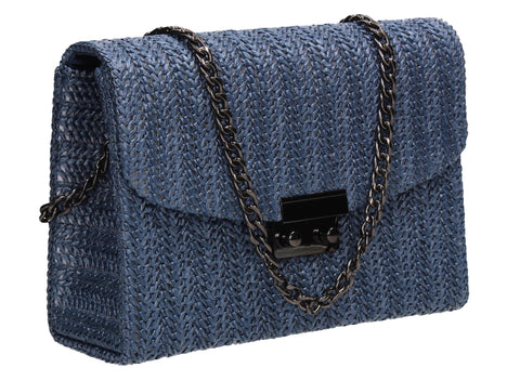 Lottie Woven Effect Crossbody Clutch Bag Blue